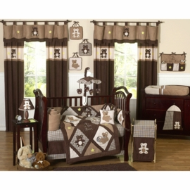 Sweet JoJo Designs Teddy Bear Chocolate 9 Piece Crib Bedding Set