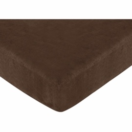 Sweet JoJo Designs Teddy Bear Chocolate Crib Sheet - Chocolate Microsuede