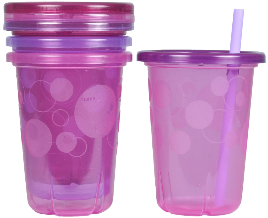 Pink Take and Toss 4-Count The First Years Straw Cup 10 Ounce