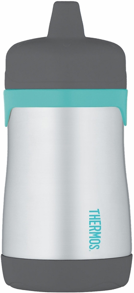 Thermos Foogo Leak-Proof Stainless Steel Sippy Cup - 10 Ounce - Charcoal/Teal