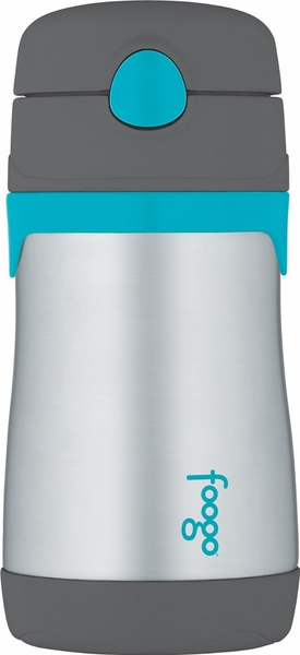 Thermos Foogo 10 oz Vacuum Insulated Stainless Steel Straw Bottle - Charcoal/Teal