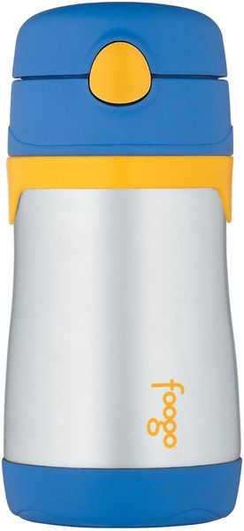 Thermos Foogo 10 oz Vacuum Insulated Stainless Steel Straw Bottle - Blue/Yellow