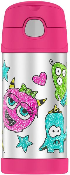 Thermos FUNtainer 10 oz Vacuum Insulated Stainless Steel Straw Bottle - Wacky Faces