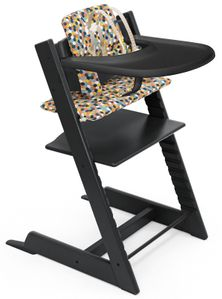 Tripp Trapp High Chair and Cushion with Stokke Tray Bundle - Black / Honeycomb Happy / Black