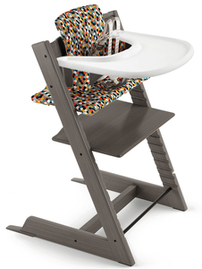 Tripp Trapp High Chair and Cushion with Stokke Tray Bundle - Hazy Grey / Honeycomb Happy / White