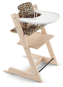 Tripp Trapp High Chair and Cushion with Stokke Tray Bundle - Natural / Honeycomb Happy / White