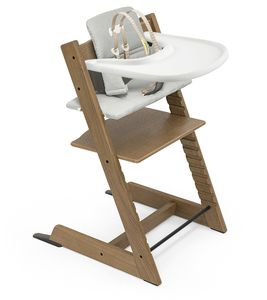 Tripp Trapp High Chair and Cushion with Stokke Tray Bundle - Oak Brown / Nordic Grey / White