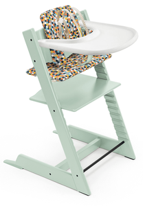 Tripp Trapp High Chair and Cushion with Stokke Tray Bundle - Soft Mint / Honeycomb Happy / White