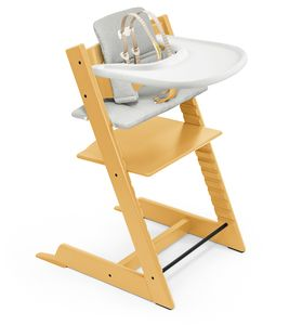 Tripp Trapp High Chair and Cushion with Stokke Tray Bundle - Sunflower Yellow / Nordic Grey / White