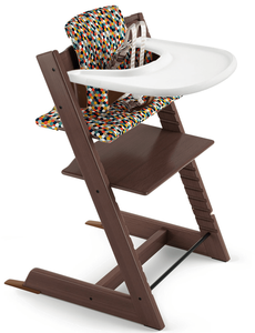 Tripp Trapp High Chair and Cushion with Stokke Tray Bundle - Walnut Brown / Honeycomb Happy / White