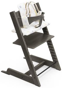 Tripp Trapp High Chair and Cushion with Stokke Tray - Hazy Grey / Stars Multi