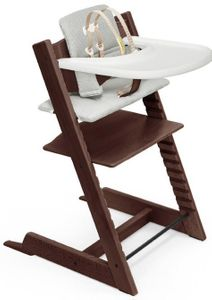 Tripp Trapp High Chair and Cushion with Stokke Tray - Walnut / Nordic Grey