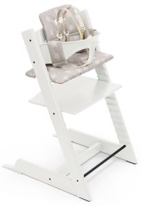 Tripp Trapp High Chair and Cushion with Stokke Tray - White / Stars Silver