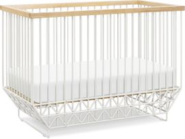 Ubabub Mod 2 in 1 Convertible Crib with Toddler Bed Conversion Kit - Warm White / Natural