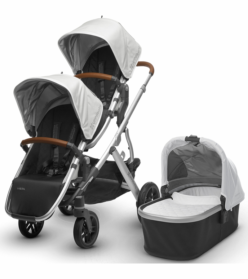 Uppababy 2017 Vista Double Stroller Loic White Silver