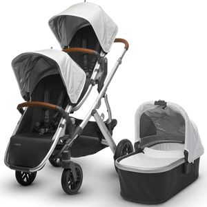UPPAbaby 2017 Vista Double Stroller - Loic (White/Silver/Leather)