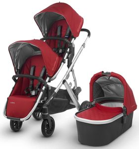 UPPAbaby 2018 / 2019 Vista Double Stroller - Denny (Red/Silver/Black Leather)