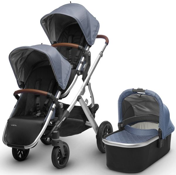 UPPAbaby 2018 / 2019 Vista Double Stroller - Henry (Blue Marl/Silver/Saddle Leather)