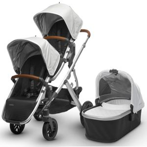 UPPAbaby 2018 / 2019 Vista Double Stroller - Loic (White/Silver/Saddle Leather)