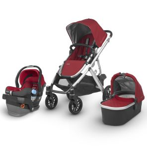 UPPAbaby 2018 / 2019 Vista + Mesa Travel System - Denny (Red/Silver/Black Leather)