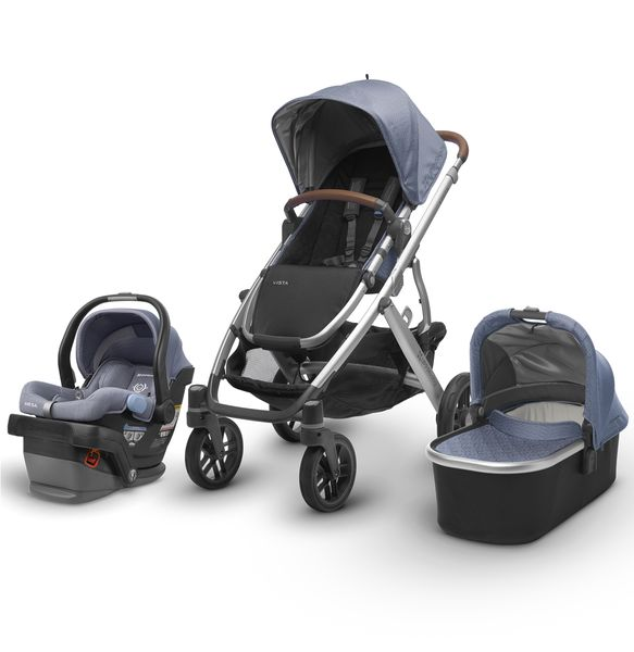 UPPAbaby 2018 / 2019 Vista + Mesa Travel System - Henry (Blue Marl/Silver/Saddle Leather)