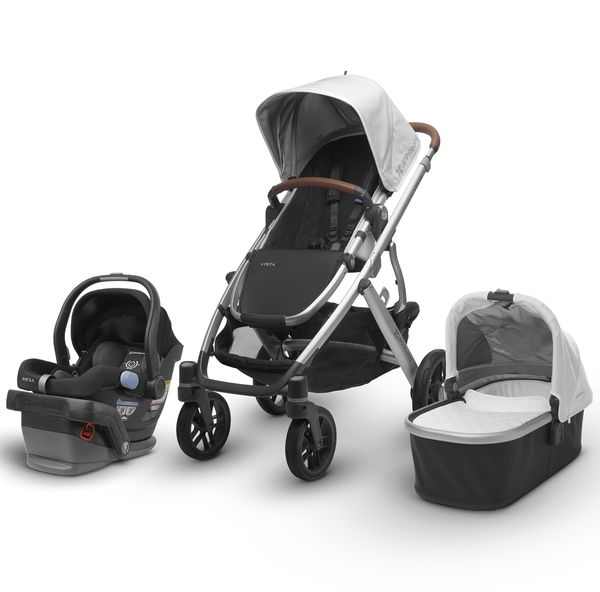 UPPAbaby 2018 / 2019 Vista + Mesa Travel System - Loic (White/Silver/Saddle Leather)