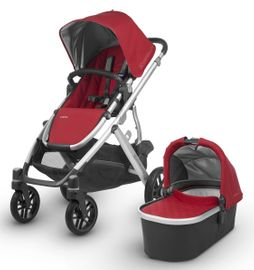 UPPAbaby 2018 / 2019 Vista Stroller - Denny (Red/Silver/Black Leather) OPEN BOX RETURN