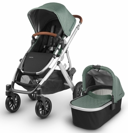 UPPAbaby 2018 / 2019 Vista Stroller - Emmett (Green Melange/Silver/Saddle Leather)