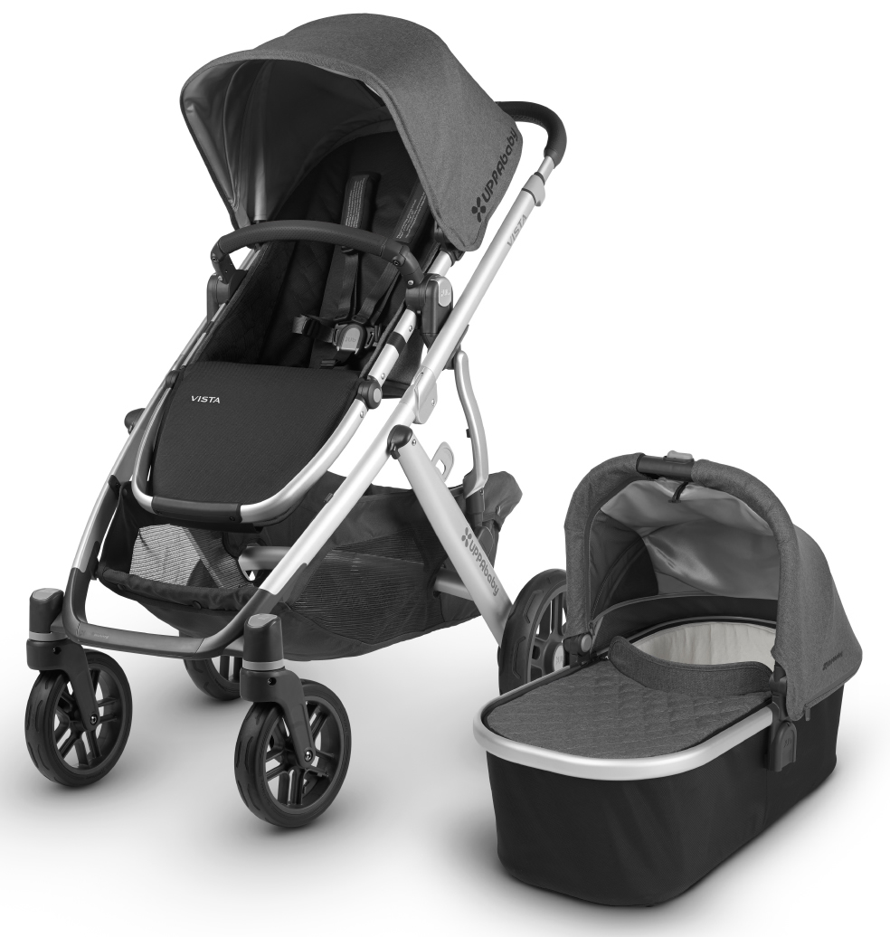 Uppababy 2018 2019 Vista Stroller Jordan Charcoal Melange Silver Black Leather