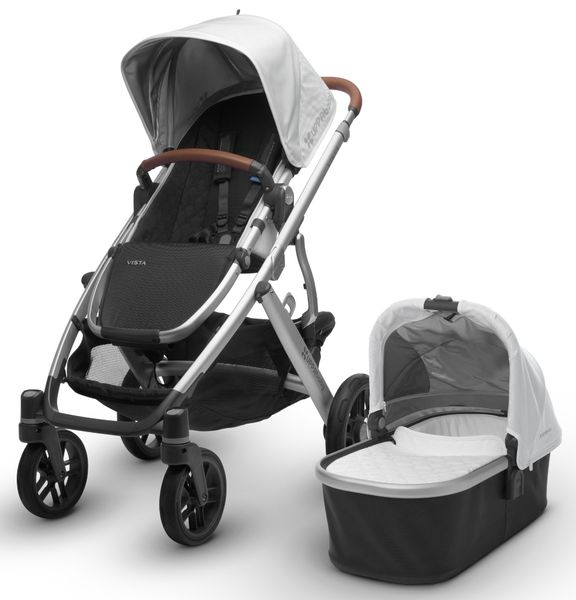 UPPAbaby 2018 / 2019 Vista Stroller - Loic (White/Silver/Saddle Leather) - OPEN BOX RETURN