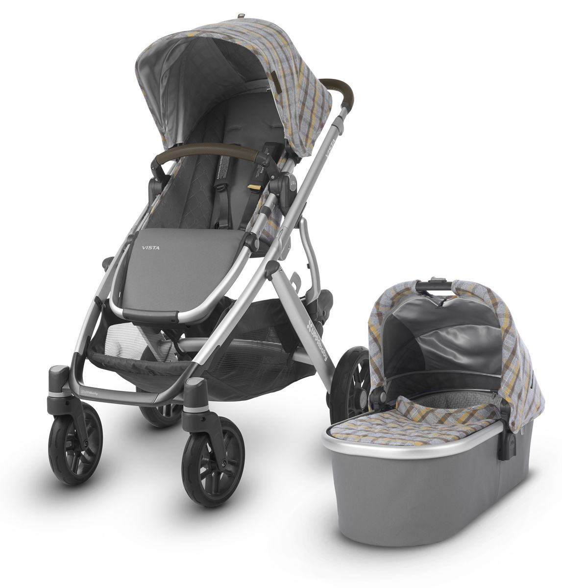 Uppababy 2019 Vista Stroller Spenser Grey Yellow Tartan Silver Moss Leather