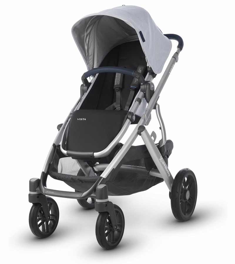 Uppababy 2019 Vista Stroller William Chambray Oxford Silver Navy Leather