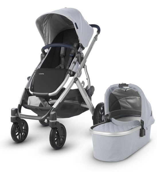 UPPAbaby 2019 VISTA Stroller - William (Chambray Oxford/Silver/Navy Leather)