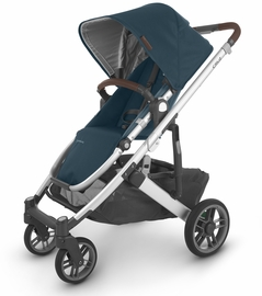 UPPAbaby 2020 Cruz V2 Stroller - Finn (Deep Sea/Silver/Chestnut Leather)