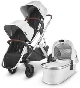 UPPAbaby 2020 Vista V2 Double Stroller - Bryce (White Marl/Silver/Chestnut Leather)