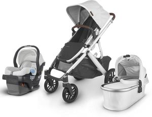 UPPAbaby 2020 Vista V2 + Mesa Travel System - Bryce (White Marl/Silver/Chestnut Leather)