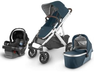 UPPAbaby 2020 Vista V2 + Mesa Travel System - Finn (Deep Sea/Silver/Chestnut Leather)