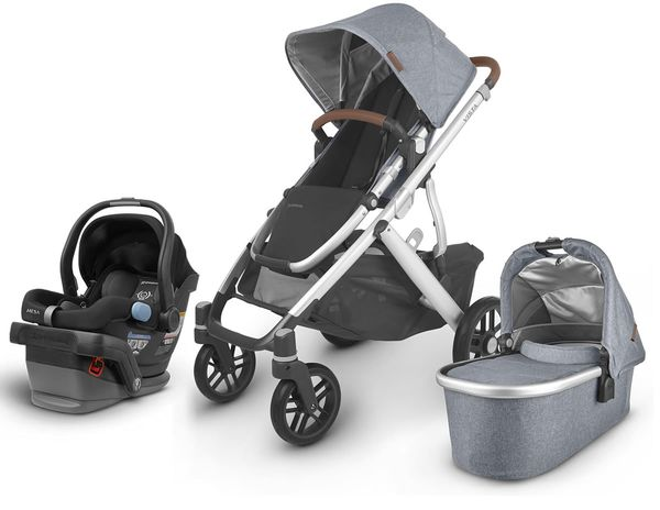 UPPAbaby 2020 Vista V2 + Mesa Travel System - Gregory (Blue Mélange/Silver/Saddle Leather)