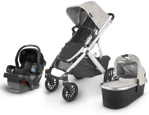 UPPAbaby 2020 Vista V2 + Mesa Travel System - Sierra (Dune Knit/Silver/Black Leather)