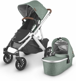 UPPAbaby 2020 Vista V2 Stroller - Emmett (Green Melange/Silver/Saddle Leather)