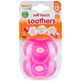 Vital Baby Soft Touch Pacifiers 12 Month+ in Pink 2 Pack