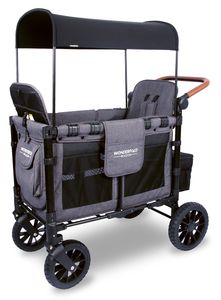Wonderfold W2S 2.0 Multifunctional Double (2 seater) Stroller Wagon - Charcoal Gray