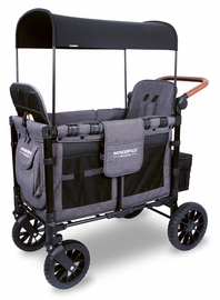 Wonderfold W2 Luxe (W2S 2.0) Multifunctional Double (2 seater) Stroller Wagon - Charcoal Gray