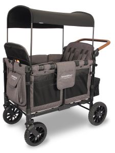 WonderFold W4 Luxe (W4S 2.0) Multifunctional Quad (4 Seater) Stroller Wagon - Charcoal Gray/Black Frame
