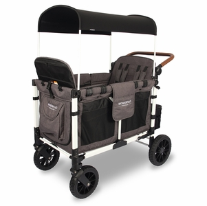WonderFold W4S 2.0 Multifunctional Quad (4 Seater) Stroller Wagon - Charcoal Gray/White Frame (Limited Edition)