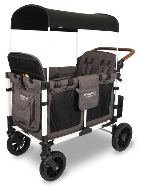 WonderFold W4 Luxe (W4S 2.0) Multifunctional Quad (4 Seater) Stroller Wagon - Charcoal Gray/White Frame (Limited Edition)