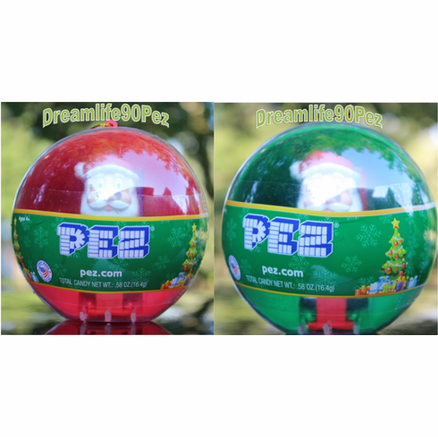 2017 Christmas Santa Pez Ornament 2 PACK, RED BALL and GREEN BALL