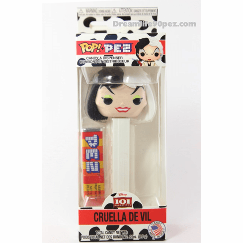 Cruella DeVil Pez, Disney Villains, Funko Pez, from Disney's 101 Dalmatians, Mint in Box