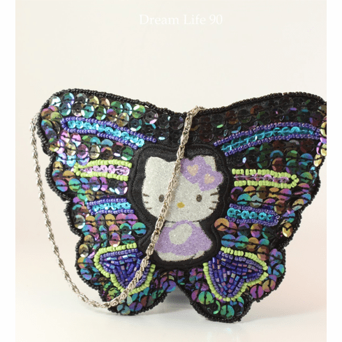 """Hello Kitty Beaded Purse, Butterfly (6"""") with Zippered Top, ONLY 1 IN STOCK"""