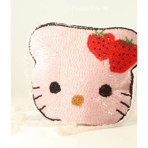 "Hello Kitty Beaded Purse, Large (6"") Choose Pink or White, with Zippered Top"